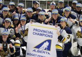 The St. Albert Slash celebrate their Midget AAA Provincial Championship after a 2-0 win over the Rocky Mountain Raiders